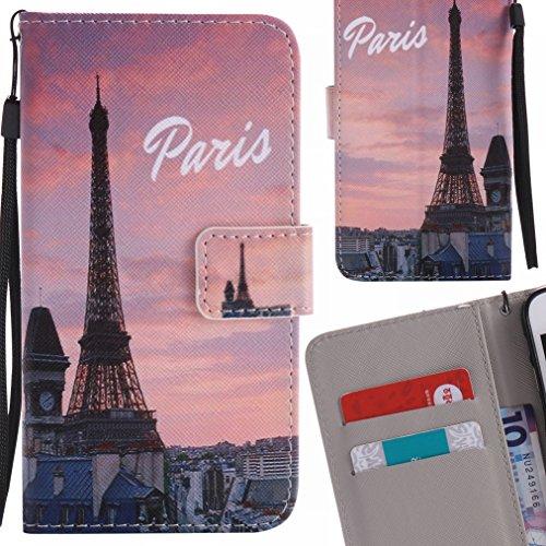 Yiizy Handyhülle für Samsung Galaxy A5 (2017) Hülle, Eiffelturm Entwurf PU Ledertasche Beutel Tasche Leder Haut Schale Skin Schutzhülle Cover Stehen Kartenhalter Stil Schutz