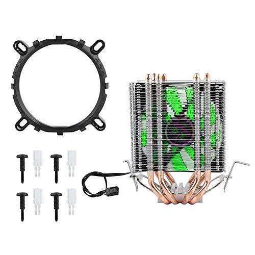 Radiador de CPU, disipador de Calor del Ventilador de refrigeración de la CPU, Sistema de refrigeración de la CPU de la computadora, para Intel LGA 1155/1156/1366(luz Verde)
