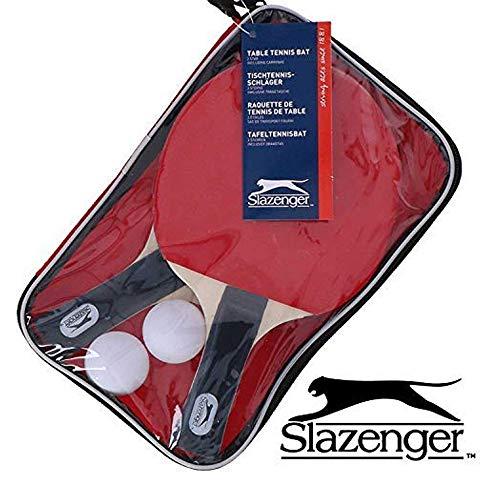 Slazenger Tischtennis-Set mit 2 Schlägern, 2 Bällen und Tasche