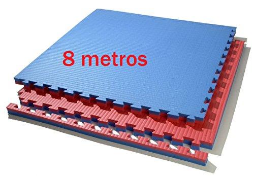 Grupo Contact 8 Metros de Tatami Puzzle 100 x 100 x 4 cm. (Rojo/Azul)