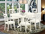 East West Furniture AVBO7-LWH-LC 7-Piece Kitchen Table...