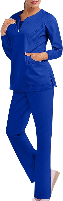ummboom Women Work Clothes Suits Long Sleeve V-Neck Solid Color Pocket Top Solid Color Trouser Wokers Suit