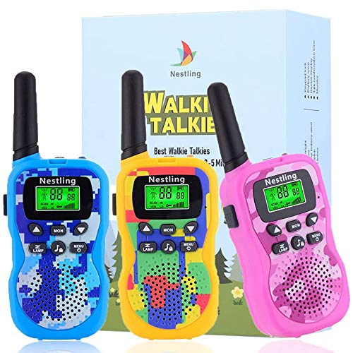 Nestling Walkie Talkie für Kinder,8 Kanäle 4KM Reichweite Funkgerät Set mit Taschenlampe 3 Schlüsselbänder Walki Talki Spielzeuge Geschenk für Jungen/ Mädchen,3 Stück Tarnung
