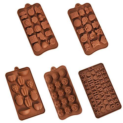 Molde de Silicona para Chocolate Molde para Bombones Moldes de Silicona Antiadherentes de Grado Alimentario Moldes para Dulces para Decoración de Pasteles para Caramelo de Jalea de Chocolate 5 Piezas