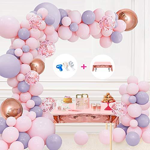 Kit de arco de guirnalda de globos Decoraciones para fiesta de cumpleaños en rosa y gris Globos Confeti de oro rosa Globo de látex Globos de aluminio 4D Globos colores pastel Baby Shower Cumpleaños