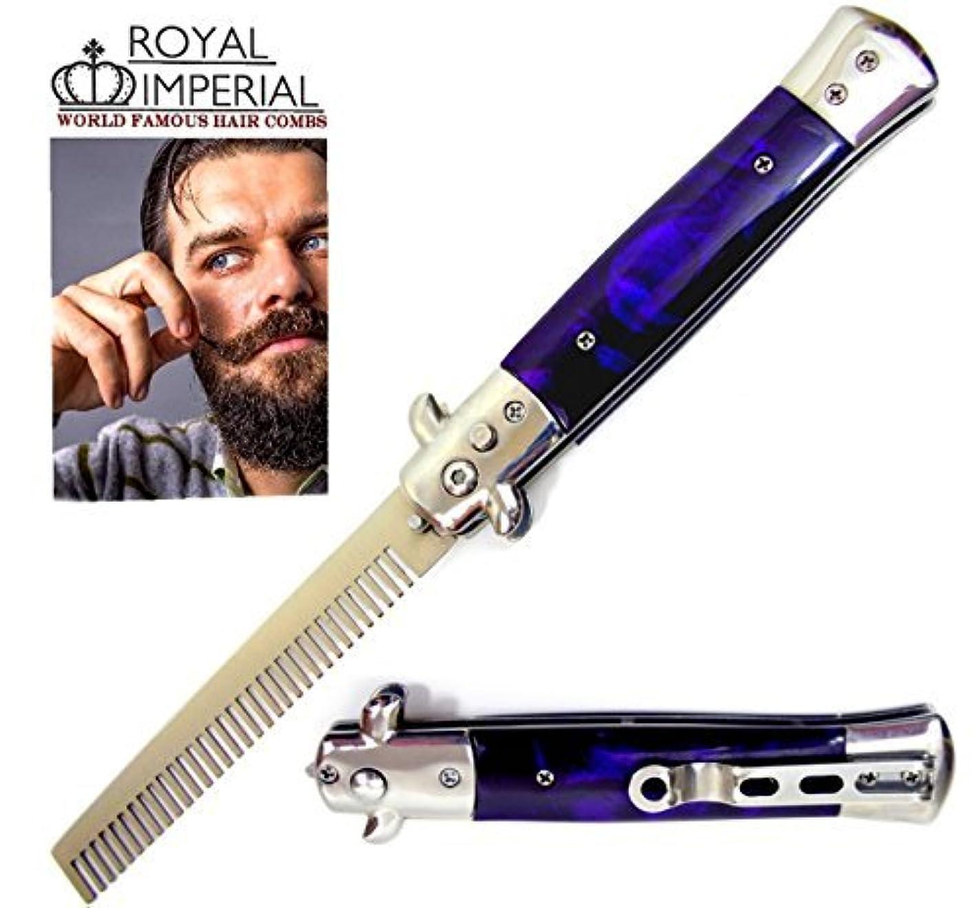 特権的より平らな退化するRoyal Imperial Metal Switchblade Pocket Folding Flick Hair Comb For Beard, Mustache, Head PURPLE THUNDER Handle ~ INCLUDES Beard Fact Wallet Book ~ Nicer Than Butterfly Knife Trainer [並行輸入品]