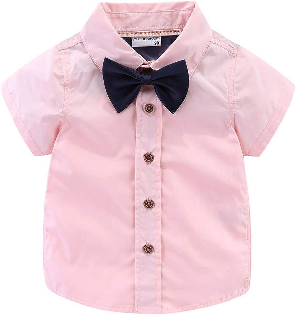 LittleSpring Boys Dress Shirt with Tie Button Down Cute