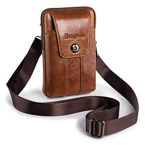 Pofomede Handytasche iPhone 11 Pro Max Holster Vertikale Handtasche Hüfttasche Samsung Galaxy S10 S9 Plus Herren Schultertaschen Leder Kleine Reisen Tasche (Braun)