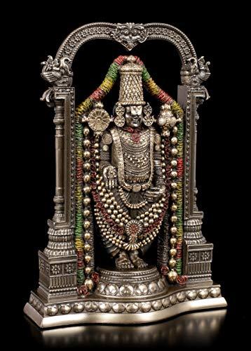 Unbekannt Vishnu Figur - Venkateswara Lord Balaji   Veronese Krishna, Götter-Figur, bronziert und coloriert, H 20,5 cm