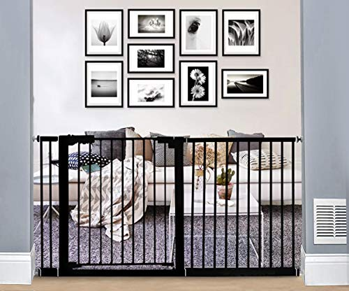 WAOWAO Extra Wide Baby Gate Easy Walk Thru Pressure Mount Auto Close Black Metal Child Dog Pet Safety Stairs,Doorways,Kitchen 24.02-81.50inch (Black, 57.87'-61.81')