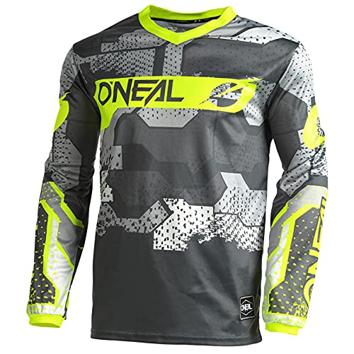 O'NEAL | Motocross-Shirt langarm | Kinder | MX MTB Mountainbike | Leichtes Material, ergonomischer Slim Fit Schnitt für perfekte Passform | Element Youth Jersey Camo V.22 | Grau Neon-Gelb | XS