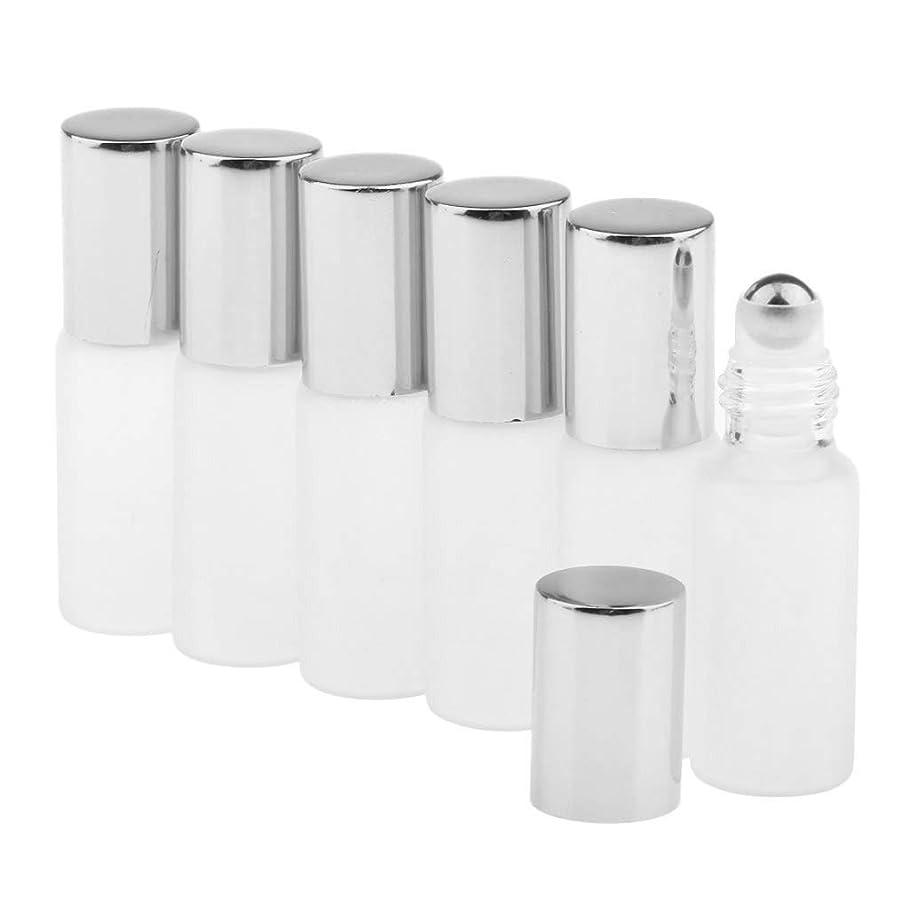 配送注ぎます異形CUTICATE ガラスアロマボトル 精油 小分けボトル アロマオイル用瓶 香水用瓶 空のローラーボトル 精油ロールボトル 3色 - シルバー