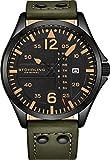 Stuhrling Original Montre aviateur analogique Sport pour Homme, Réglage Rapide, Date du Jour, Bracelet en Cuir décontracté (Green)