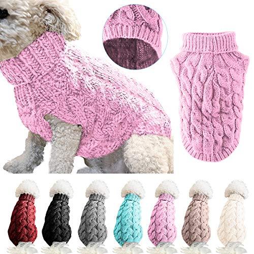 Petyoung Hundepullover Weste Warmer Mantel Haustier weiche Strickwolle Winter Pullover gestrickt Häkeln Mantel Kleidung für kleine mittlere große Hunde (S, Pink)