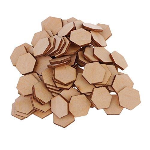 dailymall 50/100/200 Pieces Formes Hexagone Découpes en MDF Bois Embellissements en Bois - Formes De Scrapbooking pour Boutons De Décoration De Bricolage Artisa - 100 pcs 12mm