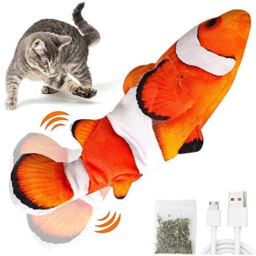 VZATT Juguetes Pez para Gatos, Juguete Eléctrico para Peces, Juguete Gato Pez, Peluche de Juguete eléctrico de simulación Fish Fish con Carga USB, Suministros para Patadas para Masticar, para Gatos