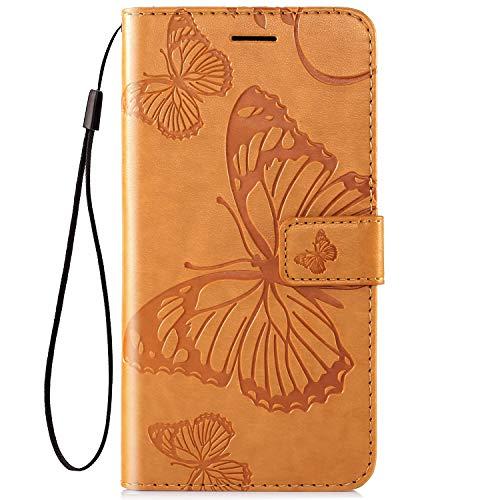 Herbests Kompatibel mit Leder Handy Schutzhülle Motorola Moto Z2 Force Lederhülle Schmetterling Muster Leder Handyhülle Handytasche Brieftasche Ledertasche Bookstyle Flip Hülle Cover Klapphülle,Gelb