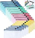 20 Pezzi Borsa File Astuccio Scuola PVC Impermeabile, A6 Busta per Documenti con Cerniera per Banconote, Cosmetici, Cancelleria e Accessori da Viaggio