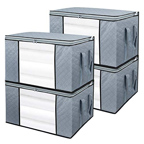 BoxLegend 4 Stück 90L Aufbewahrungstasche Organizer mit großer Kapazität und verstärktem Griff, dickem Stoff, großes, klares Fenster für Bettdecken, Decken, Bettwäsche, Plüschtiere,Steppdecken