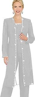 Designer 3 Piece Chiffon Pant Suits Mother of The Bride Pant Suits Long Jacket Evening Party Sliver