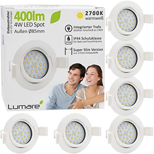 6x Lumare LED Einbaustrahler 4W 400lm 230V IP44 Ultra flach Wohnzimmer, Badezimmer Einbauleuchten weiss rund, 68mm EinbauØ Mini Slim Spot warmweiß
