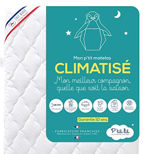 Ptit Lit - Matelas Bébé Climatisé - 60x120 cm - 1 face Été fraîche / 1 face Hiver ouatinée - Anti Acarien - Déhoussable - Oeko Tex® - Fabrication Française