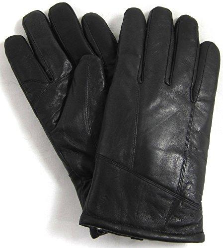 NUGRUGS Herren-Handschuhe aus echtem Leder mit Schaffell-Futter in Schwarz Größen Medium , Schwarz