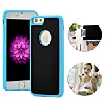 Anti-Gravity Selfie Case for iPhone 8 Plus /7 Plus 5.5' Shinetop Hands Free Nano-Suction Phone Case Cover Creative Magical Nano Sticky Can Stick to Glass,Tile,Car GPS,Most Smooth Surface-Black+Blue