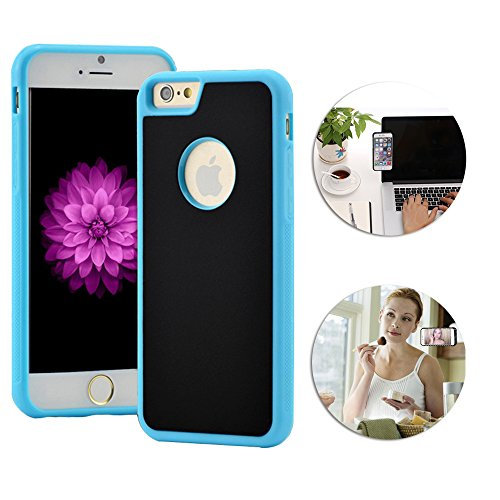 """Anti-Gravity Selfie Case for iPhone 6 6S 4.7"""" Shinetop Hands Free Nano-Suction Technology Phone Case Cover Creative Magical Nano Sticky Can Stick to Glass,Tile,Car GPS,Most Smooth Surface-Black+Blue"""