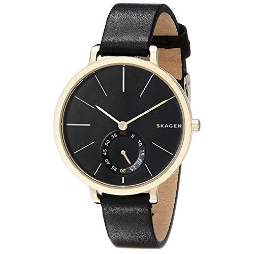 Skagen Hagen horloge analoog quartz met zwarte leren band voor dames SKW2354