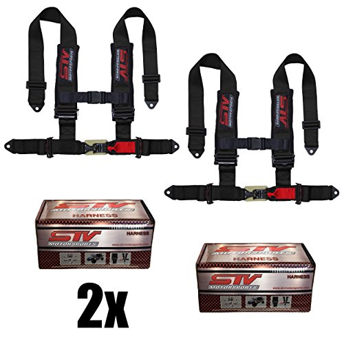 Spocoro SB-0204BLK-QR-1 4 Point Racing Safety Harness Cam Lock with 2 Straps Pack of 1 Black