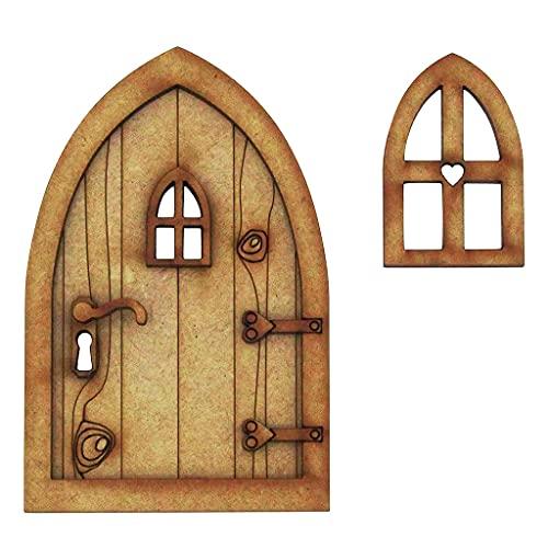 ZHINTE Esculturas Decorativas 1:12 Divertido gnomo Puerta de Hadas Muebles de simulación en Miniatura Puerta de Elfo de Madera 3D