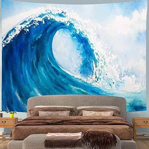 Tapiz De Olas Pintura Japonesa Kanagawa Tapiz De Olas Grandes para MantÓN De Playa Delantal De Playa Gigante Sabana Mandala Dormitorio DecoraciÓN De Sala De Estar(Azul)