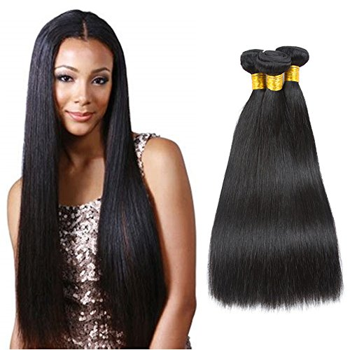 Brazilian Straight Hair 3 Bundles 100% Raw Unprocessed Human Hair Extensions Double Weft Silky Straight Weave Human Hair Bundles Virgin Hair Natural Color (14 16 16 Inch)