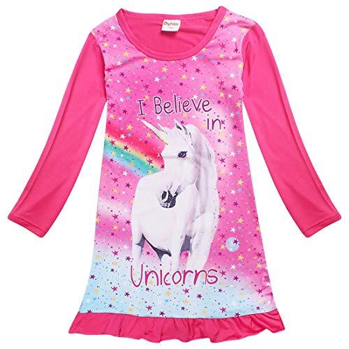 Kinder Mädchen Einhorn Pferd Kleid Nachtwäsche Nachthemd T-Shirt Pyjamas Langarm Tops Kleidung (5-6 Jahre, Langarm Rosa)