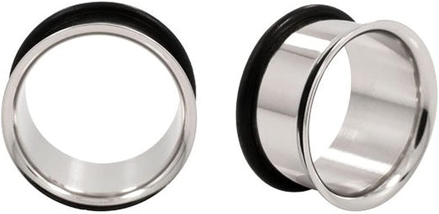Urban Body Jewelry 1 Pair of 9mm Stainless Steel Tunnels (STL004)