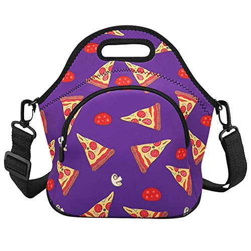 Violet Mist Neoprene Thermal Insulated Lunch Bag Tote Large with Extra Pocket Detachable Adjustable Shoulder Lunchbox Handbags Women Girls Boys, Purple Pizza