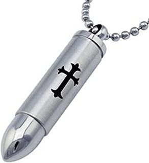 Silver Stainless Steel Cylinder Cross Bullet 50mm Pendant,Urn Necklaces for Ashes, Free Chain 24