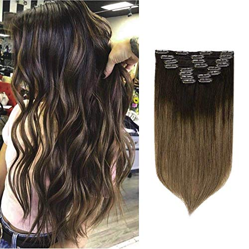 Fshine Hair Extensions Clip Ins 10 Pcs Balayage Clip On Human Hair Extensions Best Rated Color 2 Fading to 8 Ash Brown Full Head Clip In Hair Extensions 12 Inch 80 Gram