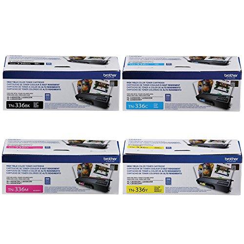Brother Genuine TN336BK, TN336C, TN336M, TN336Y High Yield Color Laser Black, Cyan, Magenta and Yellow Toner Cartridge Set