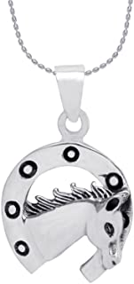 Izaara 92.5 silver sterling Silver Horseshoe Pendant. Only for Animal lovers.