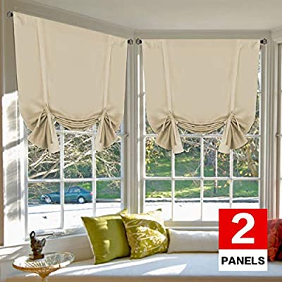 H.VERSAILTEX Blackout Energy Saving Thermal Insulated Tie Up Curtain for Small Window Home Fashion Window Treatment Solid Pattern Rod Pocket Panels for Kitchen, 2 Panels, Elegant Beige