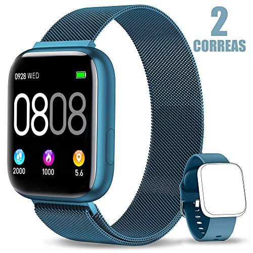 AIMIUVEI Smartwatch, Reloj Inteligente Mujer Hombre IP67 con Pulsómetro, 1.4 Inch Smartwatch Presión Arterial Monitor de Sueño GPS Podómetro Pulsera Actividad Inteligente Compatible con iOS y Android