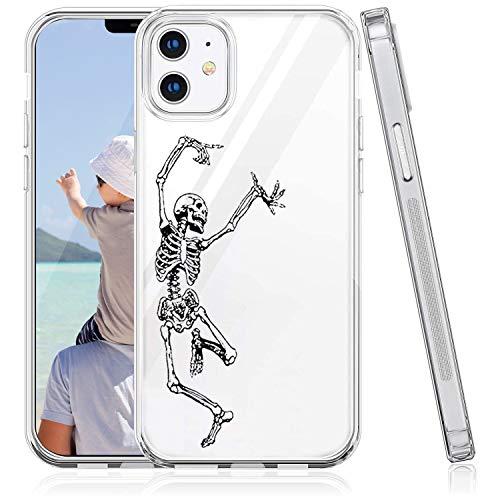 Suhctup Funda Compatible para iPhone 12 Fundas, Transparente Dibujos Protección Carcasa Suave Silicona Gel TPU Bumper Ultra-Delgado Antigolpes Case Cover(Cráneo)