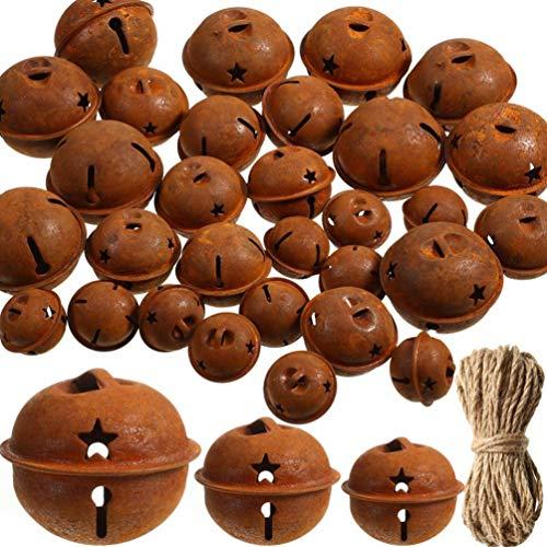Exceart - 30 campane in metallo arrugginito con corda di canapa a a stella cava, taglio campane vintage, bricolage, ornamento, ciondolo sospeso per albero di Natale, decorazione