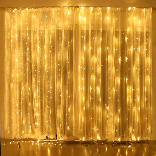 Natale decorazioni lucine led decorative tenda luminosa, 3x3m 300 Led prolungabile natale luci decorative, fairy lucine, decorative waterproof per camere da letto giardino casa feste natale matrimonio