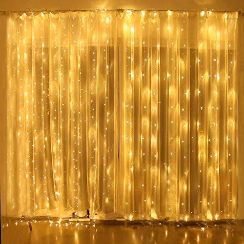 Natale decorazioni lucine led decorative tenda luminosa, 3x3m 300 Led prolungabile natale luci decorative, fairy lucine, decorative waterproof per camere da letto giardino casa feste natale matrimonio