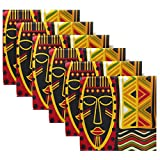 MAHU Table Cloth Napkins African Women Geometric Print Set of 6, Washable Reusable Dinner Napkin, Table Decor for Kitchen, Wedding, Banquet, Holiday (20 x 20 in)