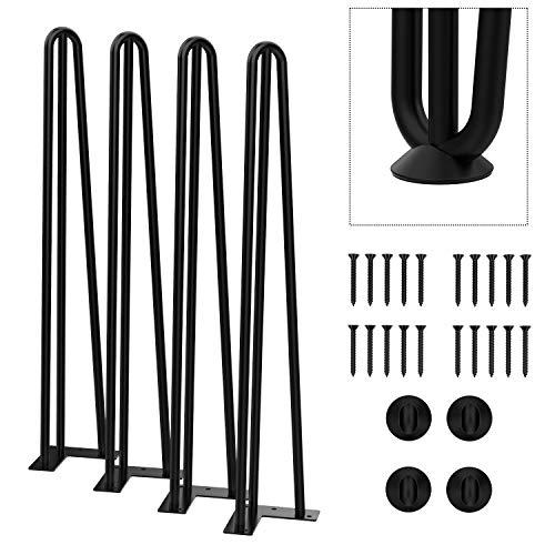 "Orgerphy 28"" Black Heavy-Duty 3-Rod Hairpin Coffee Table Legs (4PCS) | Diameter 1/2"" | with Screws and 4pcs Bonus Rubber Floor Protectors | Mid Century Modern Metal Legs Desk Legs Furniture Legs"