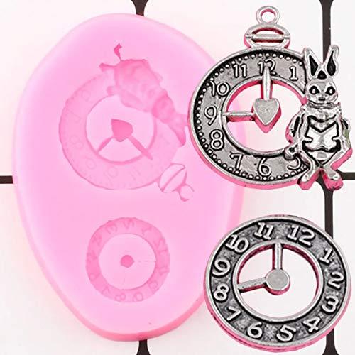 GEYKY Relojes industriales Molde de Silicona Herramienta de decoración de Pasteles Molde de Adorno de Reloj Molde de Pasta de Goma de Chocolate y Caramelo